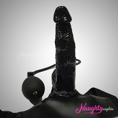 7 Inch Inflatable Strap On Black Realistic Dildo