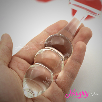 3 Beads Glass Dildo With Strong Grip